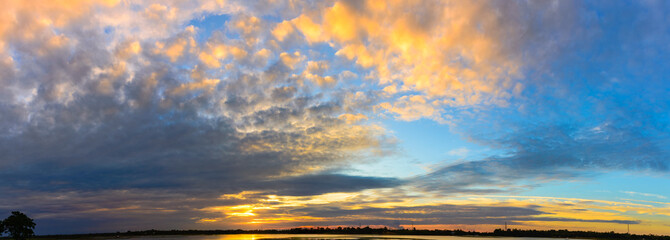 Panorama Colorful sunset of sky
