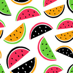 Brush Grunge Watermelon Fruits Seamless Pattern.