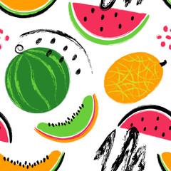 Brush Grunge Watermelon Fruits Seamless Pattern.