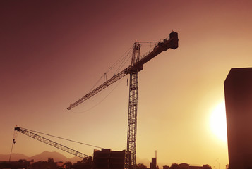Giant crane over construction site