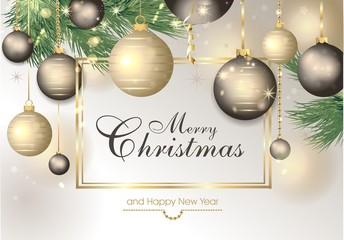 weihnachtlicher Hintergrund mit Christbaumkugeln