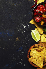 Mexican Food, Salsa Sauce, Tomatoes, Nachos and Lime, Food Background, Top View