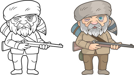 cartoon funny pioneer with a rifle in his hands