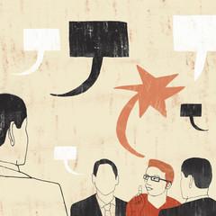 Illustration of businessmen talking