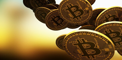 Many gold bitcoins laying on reflective surface, 3d Rendering