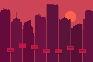 Silhouette of a city skyline as graphic equalizer