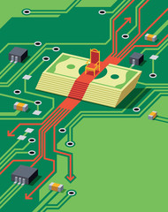 Money under throne on circuit board