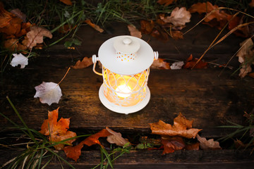 Decorative lantern with burning candle in autumn park at evening.