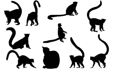 Lemur Silhouette Vector Graphics