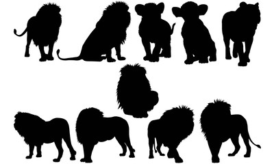 Lion Silhouette Vector Graphics