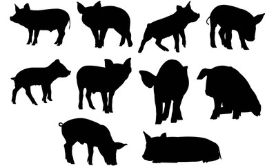 Pig Silhouette Vector Graphics