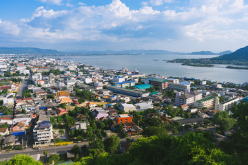 The beautiful cityscape of Songkhla city and Songkhla lake with the islands from the view point.
