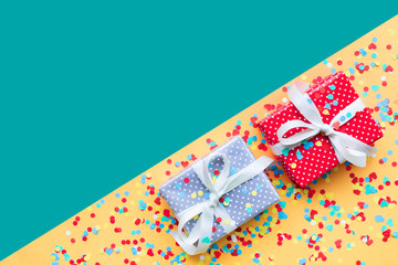 Celebration,party backgrounds concepts ideas with colorful gift box present in dot pattern design...
