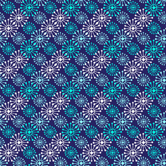 Christmas seamless pattern. Geometric texture snowflakes. Abstract endless background. Vector design for textile or wrapping paper.