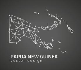 Papua New Guinea dark vector contour triangle perspective map