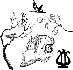 Vector black and white art with music symbols and tree branches