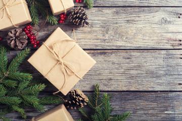 Gifts , viburnum , hazelnut and christmas tree . Xmas concept