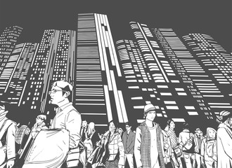 La pose en embrasure Art Studio Illustration of urban crowd from low angle view with towers and high rises in background in black and white