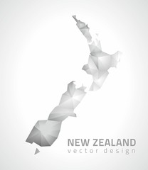 New Zealand vector polygonal grey and silver triangle map