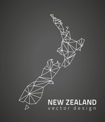 New Zealand dark vector contour triangle perspective map