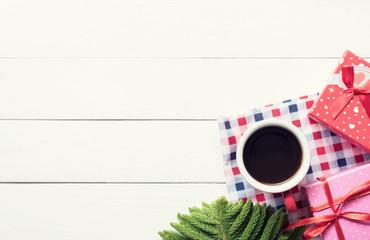 Christmas holidays composition on white wooden background