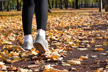 Recreation in the park during fall season - jogging and walking