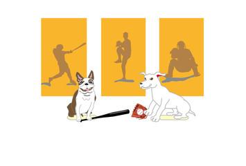 ポップな犬と野球のイラストのベースボールのポストカード