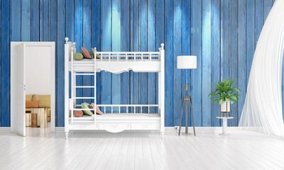 Modern interior design of nursery room in vogue with plant and copyspace in horizontal arrangement. 3D rendering.