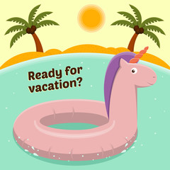 Rubber ring in the form of a unicorn on a tropical island background.