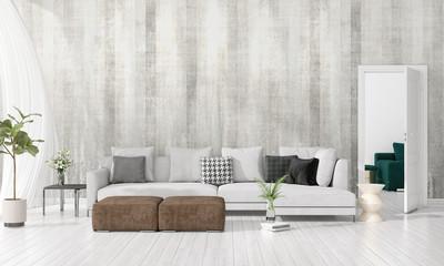 Modern interior design of livingroom in vogue with plant, grey divan, copyspace. Horizontal arrangement. 3D rendering.