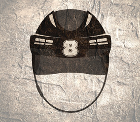 Classic ice hockey black helmet icon in flat style. Eight number label. Front view