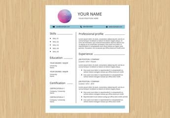 Resume Set with Blue Header Bar