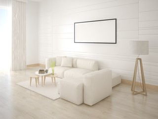 Mock up the living room with a corner light sofa and a stylish floor lamp.