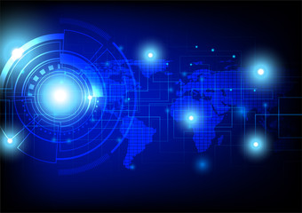Modern technology illustration, abstract circle and circuit board on dark some Elements of this image furnished by NASA