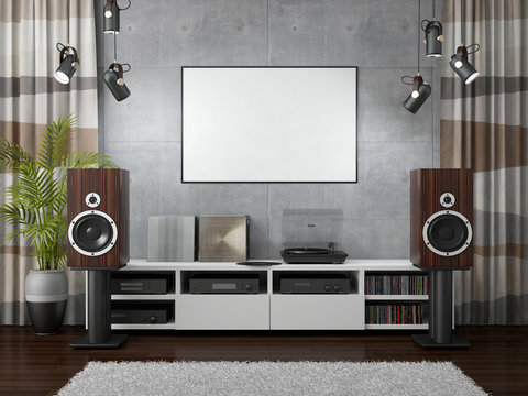 3d rendering of hi-fi room