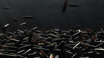 Many bullets fall on the table. In the background a dark wall