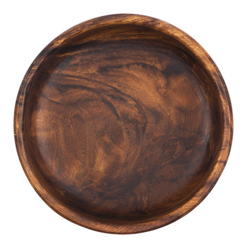 Empty wooden bowl isolated on white background. Top view