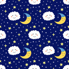 Cute seamless pattern with funny cartoon characters of sleeping moon, stars and clouds