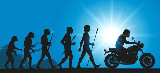 moto - motard - évolution - liberté - concept - aventure - voyage - homme - primitif
