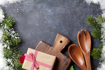 Christmas cooking table, gift box and utensils