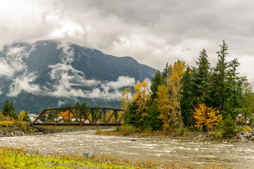 Train Bridge in Hope, Fraser Valley, BC, British Columbia, Canada Wall mural