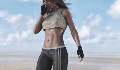 fitness woman exercise outdoor - 3d rendering