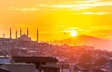 Sunset at Blue Mosque in Istanbul