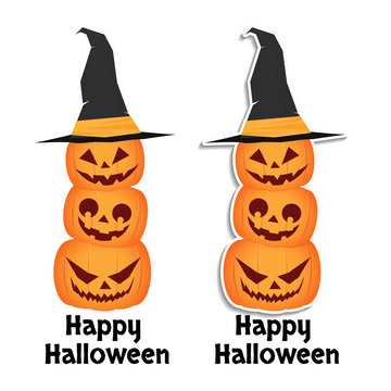 """three cheerful pumpkins with different emotions stand on each other. Pumpkin with a witch hat on his head. Sticker. The inscription """"happy halloween"""""""