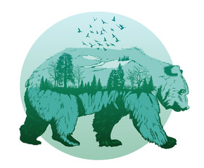 Double exposure, wild bear and forest