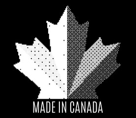 Pixel Icon black and white Canada maple leaf. Made in Canada sign. Abstract mosaic shape. Isolated on dark background. Vector concept illustration logo design.