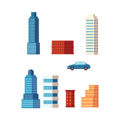 vector flat cartoon different buildings set. Skyscrapers, office centers shopping mall and city apartment houses and a car. Isolated illustration on a white background
