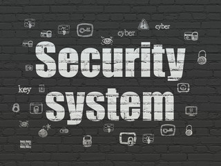 Security concept: Painted white text Security System on Black Brick wall background with  Hand Drawn Security Icons