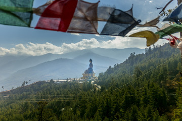 View of the Giant Buddha Dordenma statue overlooking the city of Thimphu, Bhutan, South Asia