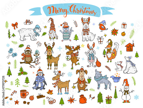 merry christmas happy new year winter cartoon cute funny animals in santa hats scarfs with presents